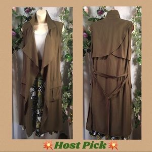 *Rose 🥀 Burg* Waterfall khaki belted trench vest